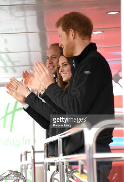 Catherine Duchess of Cambridge Prince William Duke of Cambridge and Prince Harry start the 2017 Virgin Money London Marathon on April 23 2017 in...