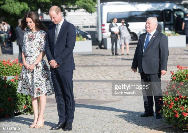 Catherine Duchess of Cambridge Prince William Duke of Cambridge and former President of Poland Lech Walesa visit the Solidarity Monument at the...