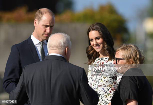 Catherine Duchess of Cambridge Prince William Duke of Cambridge and former President of Poland Lech Walesa are seen on their way to the Solidarity...