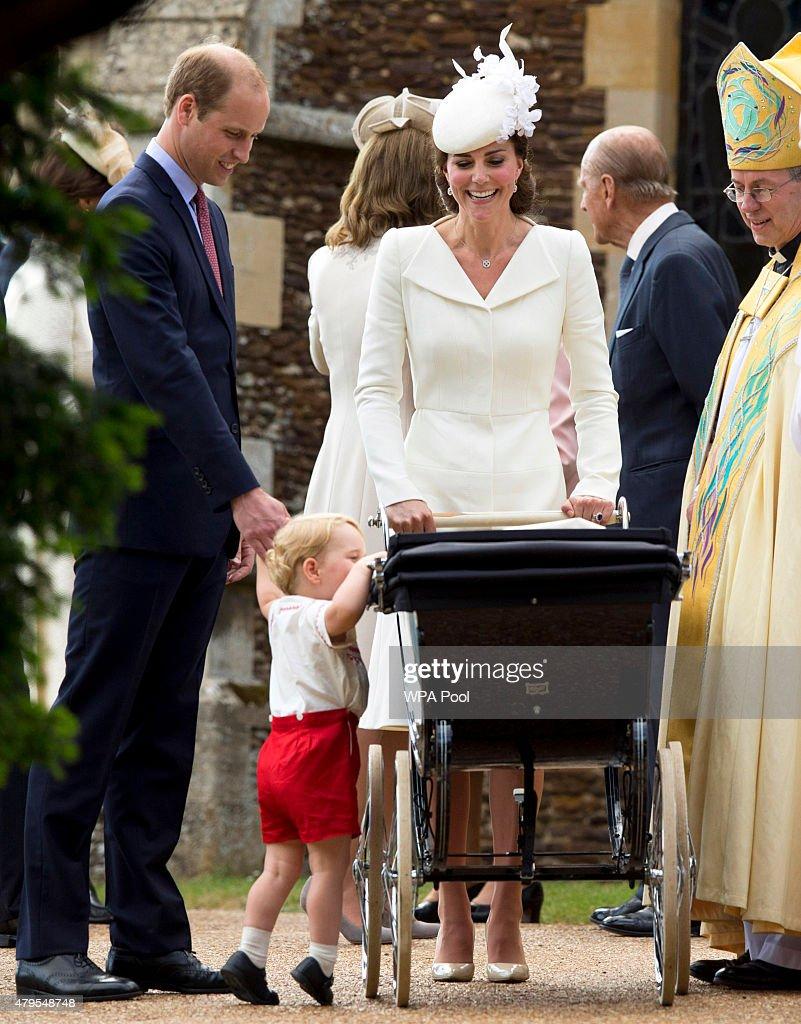 Catherine Duchess of Cambridge Prince William Duke of Cambridge Princess Charlotte of Cambridge and Prince George of Cambridge speak with Archbishop...