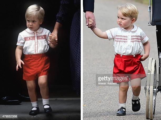 In this composite image a comparison has been made between Prince William and Prince George wearing similar clothing KING'S LYNN ENGLAND JULY 05...