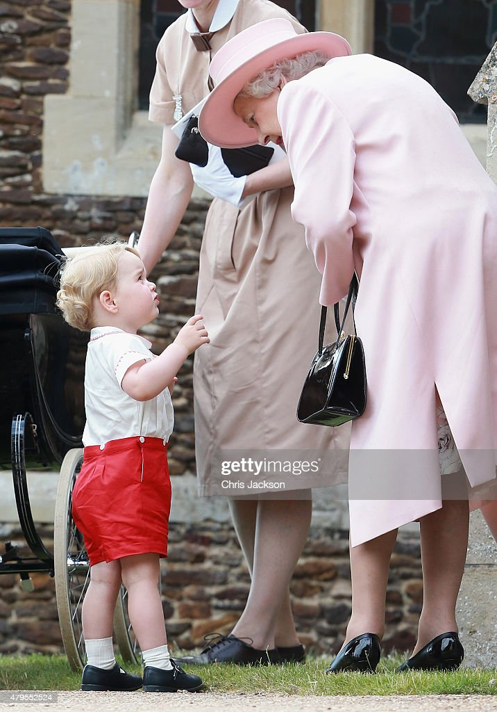 Catherine, Duchess of Cambridge, Prince William, Duke of Cambridge, Princess Charlotte of Cambridge and Prince George of Cambridge, Queen Elizabeth II and Prince George's nanny, Maria Teresa Turrion Borrallo leave the Church of St Mary Magdalene on the Sandringham Estate for the Christening of Princess Charlotte of Cambridge on July 5, 2015 in King's Lynn, England.