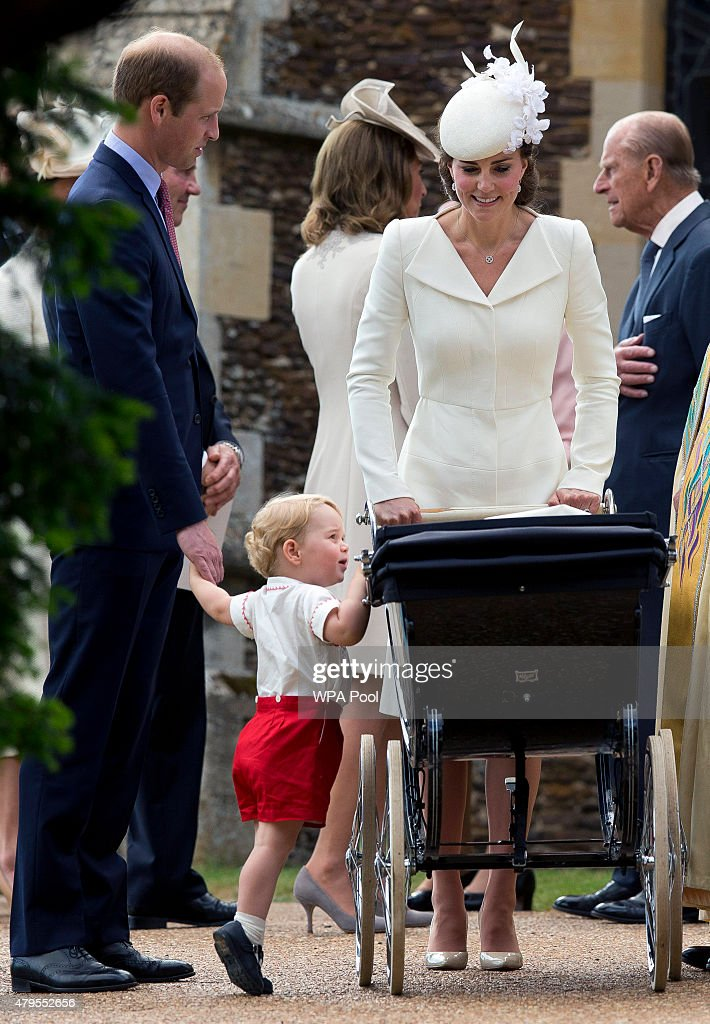 Catherine, Duchess of Cambridge, Prince William, Duke of Cambridge, Princess Charlotte of Cambridge and Prince George of Cambridge leave the Church of St Mary Magdalene on the Sandringham Estate after the Christening of Princess Charlotte of Cambridge on July 5, 2015 in King's Lynn, England.