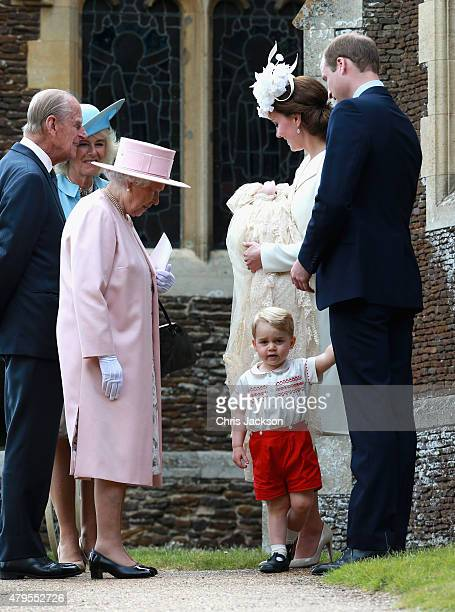 Catherine Duchess of Cambridge Prince William Duke of Cambridge Princess Charlotte of Cambridge and Prince George of Cambridge talk to Queen...