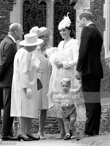 Catherine Duchess of Cambridge Prince William Duke of Cambridge Princess Charlotte of Cambridge and Prince George of Cambridge Queen Elizabeth II...