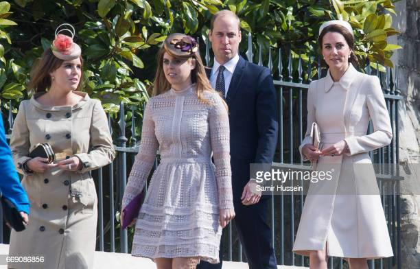 Catherine Duchess of Cambridge Prince William Duke of Cambridge Princess Beatrice of York and Princess Eugenie of York attend Easter Day Service at...