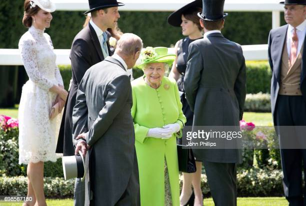 Catherine Duchess of Cambridge Prince William Duke of Cambridge Prince Philip Duke of Edinburgh Princess Eugenie of York and Prince Andrew Duke of...