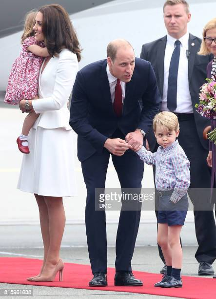 Catherine Duchess of Cambridge Prince William Duke of Cambridge Prince George of Cambridge and Princess Charlotte of Cambridge are seen arriving at...