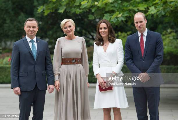 Catherine Duchess of Cambridge Prince William Duke of Cambridge President of Poland Andrzej Duda and the first Lady Agata KornhauserDuda visit the...