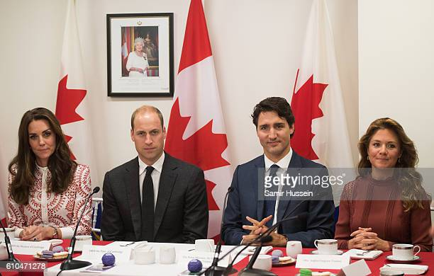 Catherine Duchess of Cambridge Prince William Duke of Cambridge Canadian Prime Minister Justin Trudeau and Sophie GregoireTrudeau visit the Canadian...