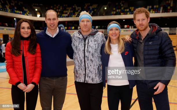Catherine Duchess of Cambridge Prince William Duke of Cambridge former athletes Iwan Thomas and Paula Radcliffe and Prince Harry pose for a...