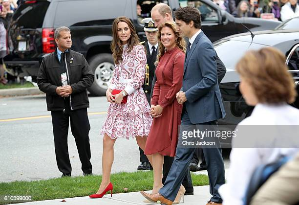 Catherine Duchess of Cambridge Prince William Duke of Cambridge Prime Minister Justin Trudeau and his wife Sophie GregoireTrudeau arrive to the...