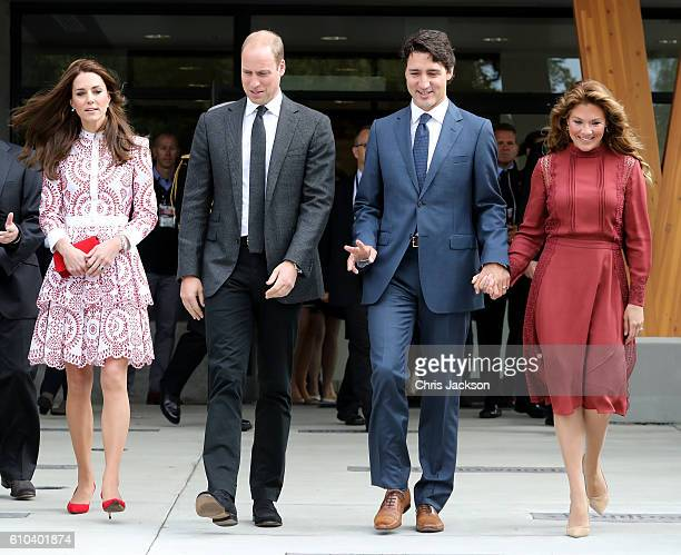 Catherine Duchess of Cambridge Prince William Duke of Cambridge Prime Minister Justin Trudeau and his wife Sophie GregoireTrudeau leave the Immigrant...