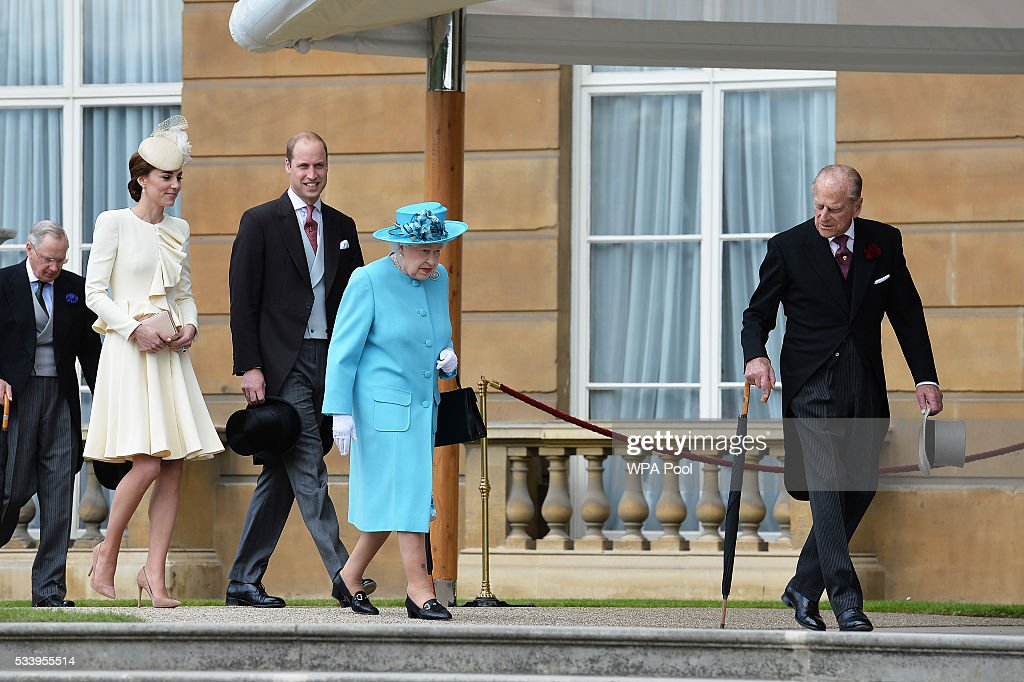 Catherine, Duchess of Cambridge, Prince William, Duke of Cambridge, Queen Elizabeth II and Prince Philip, Duke of Edinburgh attend a garden party at Buckingham Palace on May 24, 2016 in London, England.