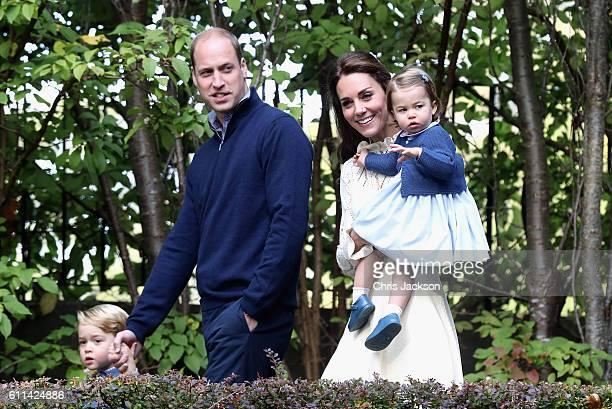 Catherine Duchess of Cambridge Princess Charlotte of Cambridge and Prince George of Cambridge Prince William Duke of Cambridge at a children's party...