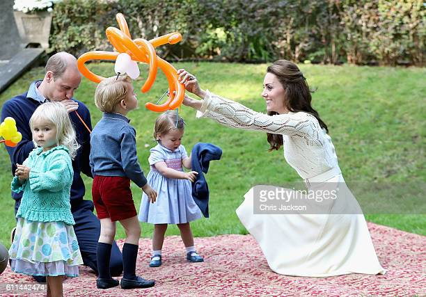 Catherine Duchess of Cambridge Princess Charlotte of Cambridge and Prince George of Cambridge at a children's party for Military families during the...