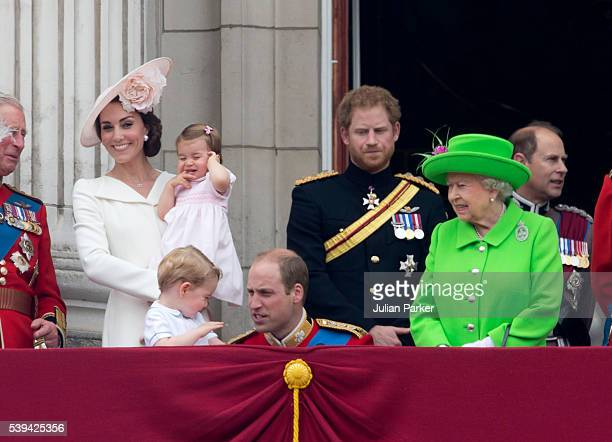 Catherine Duchess of Cambridge Princess Charlotte of Cambridge Prince George of Cambridge Prince William Duke of Cambridge Prince Harry and Queen...