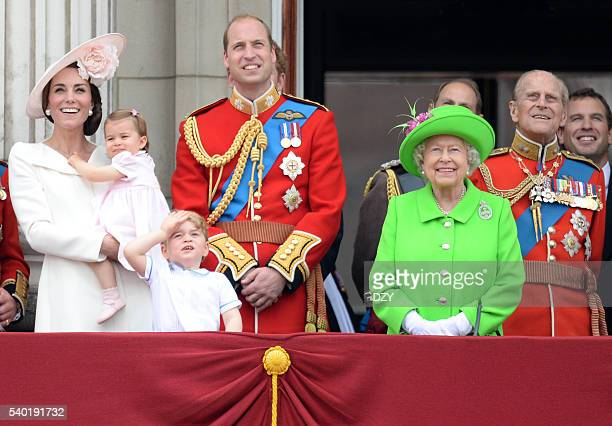 Catherine Duchess of Cambridge Princess Charlotte of Cambridge Prince George of Cambridge Prince William Duke of Cambridge Queen Elizabeth II and...