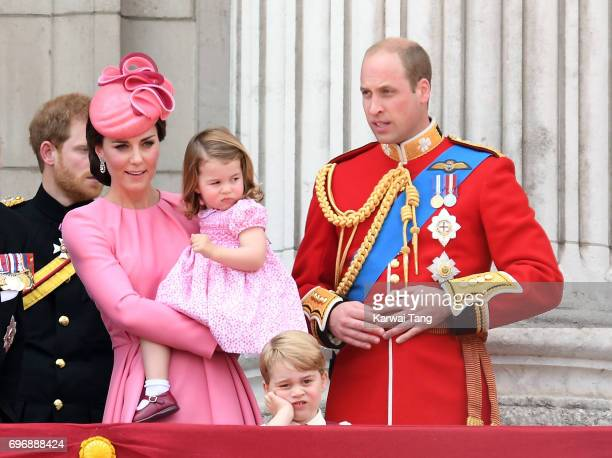 Catherine Duchess of Cambridge Princess Charlotte of Cambridge Prince George of Cambridge and Prince William Duke of Cambridge look on from the...