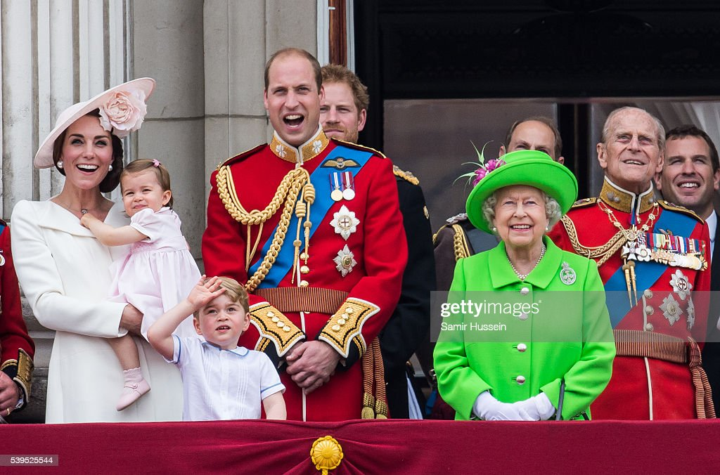 Catherine, Duchess of Cambridge, Princess Charlotte, Prince George, Prince William, Duke of Cambridge, Queen Elizabeth II and Prince Philip, Duke of Edinburgh stand on the balcony during the Trooping the Colour, this year marking the Queen's official 90th birthday at The Mall on June 11, 2016 in London, England. The ceremony is Queen Elizabeth II's annual birthday parade and dates back to the time of Charles II in the 17th Century when the Colours of a regiment were used as a rallying point in battle.