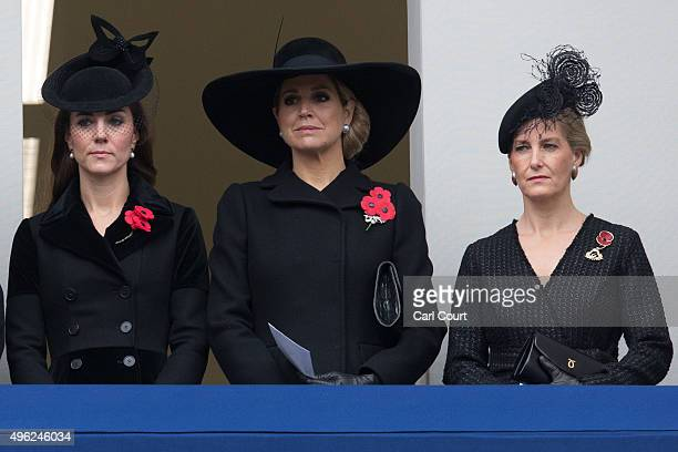 Catherine Duchess of Cambridge Queen Maxima of the Netherlands and Sophie Countess of Wessex attend the annual Remembrance Sunday Service at the...