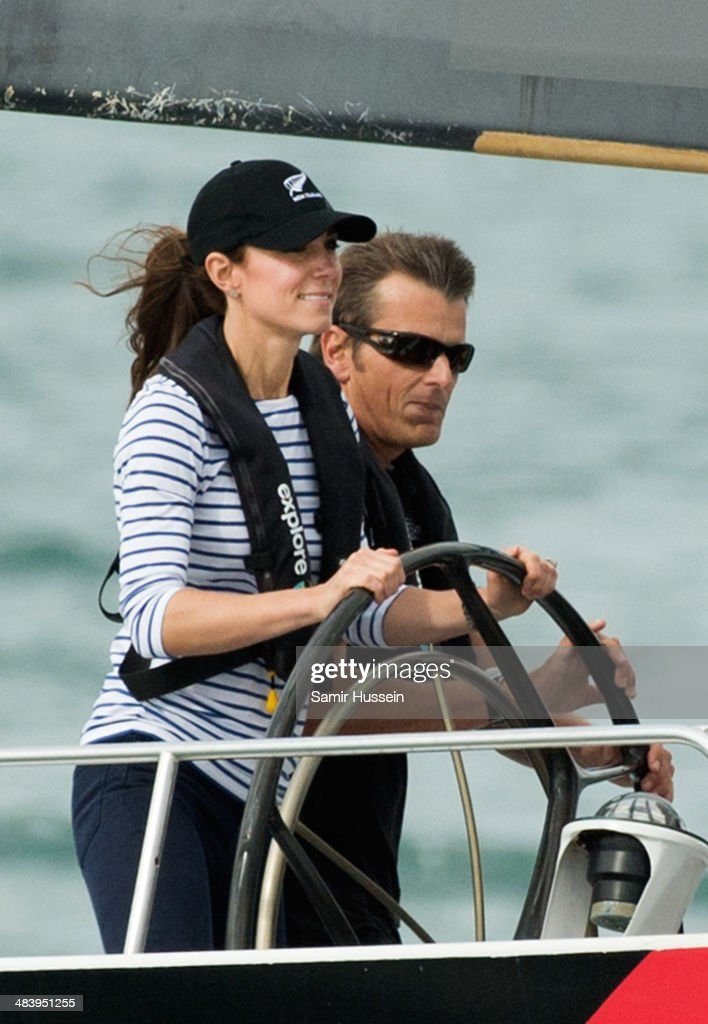 Catherine, Duchess of Cambridge races the New Zealand's Americas Cup Team yacht during their visit to Auckland Harbour on April 11, 2014 in Auckland, New Zealand. The Duke and Duchess of Cambridge are on a three-week tour of Australia and New Zealand, the first official trip overseas with their son, Prince George of Cambridge.