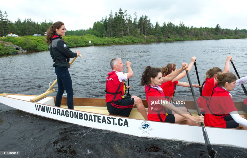 Catherine, Duchess of Cambridge rows a dragon boat across Dalvay lake on July 4, 2011 in Charlottetown, Canada. The newly married Royal Couple are on the fifth day of their first joint overseas tour. The 12 day visit to North America is taking in some of the more remote areas of the country such as Prince Edward Island, Yellowknife and Calgary. The Royal couple started off their tour by joining millions of Canadians in taking part in Canada Day celebrations which mark Canada's 144th Birthday.