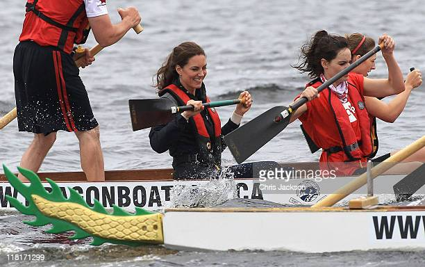 Catherine Duchess of Cambridge rows in a dragon boat across Dalvay lake on July 4 2011 in Charlottetown Canada The newly married Royal Couple are on...