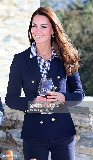 Catherine Duchess of Cambridge samples red wine as the visit Otago Wines at Amisfield winery on April 13 2014 in Queenstown New Zealand The Duke and...