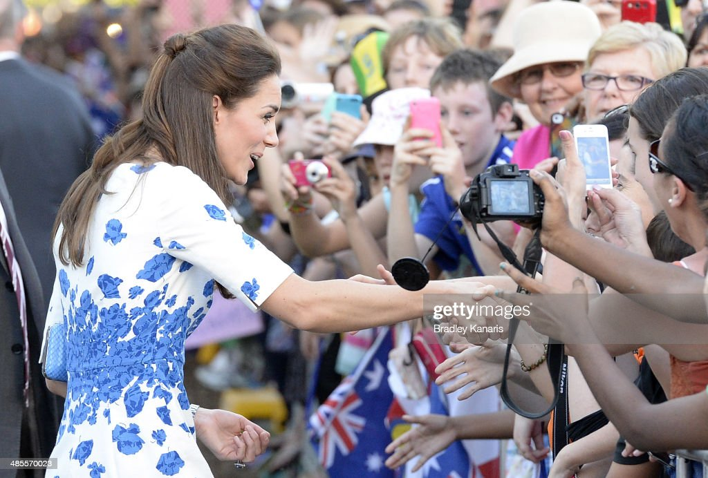 <a gi-track='captionPersonalityLinkClicked' href=/galleries/search?phrase=Catherine+-+Duchess+of+Cambridge&family=editorial&specificpeople=542588 ng-click='$event.stopPropagation()'>Catherine</a>, Duchess of Cambridge shakes hands with a member of the public on April 19, 2014 in Brisbane, Australia. The Duke and Duchess of Cambridge are on a three-week tour of Australia and New Zealand, the first official trip overseas with their son, Prince George of Cambridge.