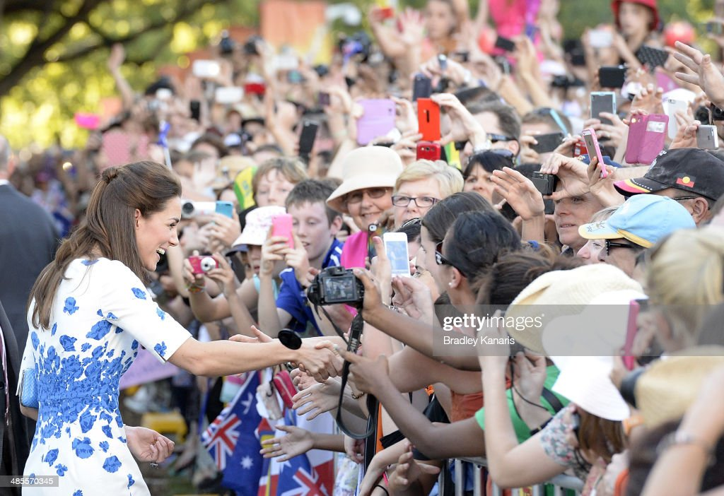 <a gi-track='captionPersonalityLinkClicked' href=/galleries/search?phrase=Catherine+-+Duchess+of+Cambridge&family=editorial&specificpeople=542588 ng-click='$event.stopPropagation()'>Catherine</a>, Duchess of Cambridge shakes hands with a well wisher on April 19, 2014 in Brisbane, Australia. The Duke and Duchess of Cambridge are on a three-week tour of Australia and New Zealand, the first official trip overseas with their son, Prince George of Cambridge.