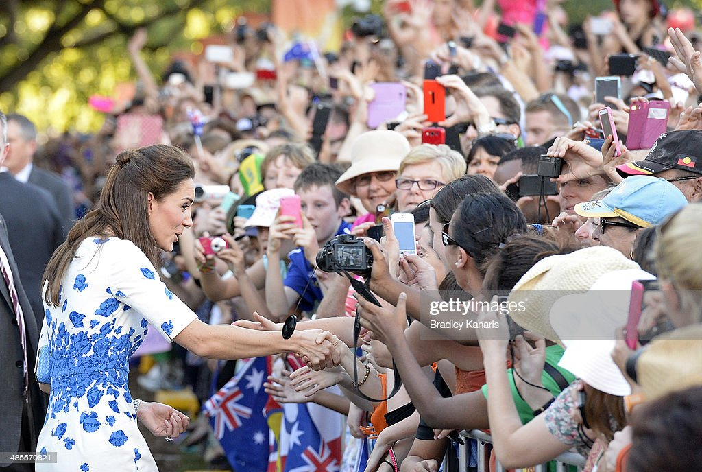 <a gi-track='captionPersonalityLinkClicked' href=/galleries/search?phrase=Catherine+-+Duchess+of+Cambridge&family=editorial&specificpeople=542588 ng-click='$event.stopPropagation()'>Catherine</a>, Duchess of Cambridge shakes hands with well wishers on April 19, 2014 in Brisbane, Australia. The Duke and Duchess of Cambridge are on a three-week tour of Australia and New Zealand, the first official trip overseas with their son, Prince George of Cambridge.