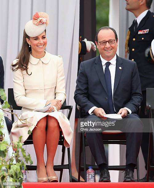 Catherine Duchess of Cambridge shares a joke with Francois Hollande she attends a WW1 100 Years Commomoration Ceremony at Le Memorial Interallie on...