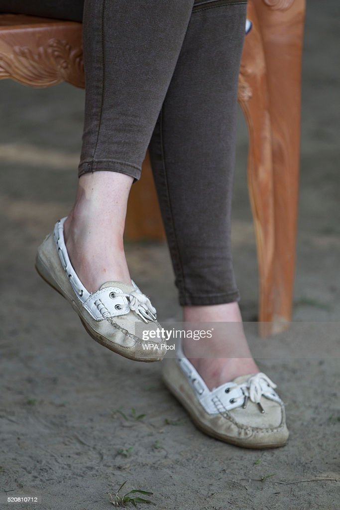 Catherine Duchess of Cambridge shoe detail meets rangers while on a Game drive with Prince William Duke of Cambridge at Kaziranga National Park at...