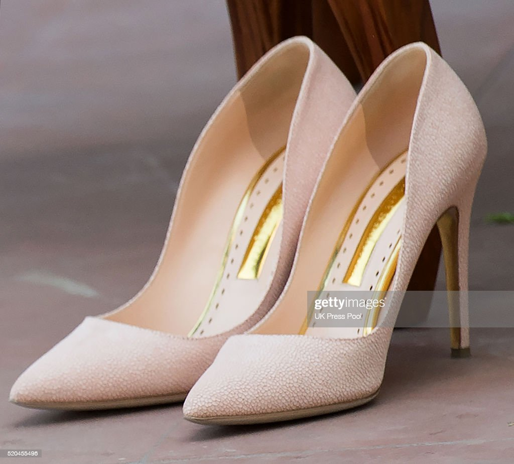 Catherine Duchess of Cambridge shoe detail on a tour of the Gandhi Smriti museum at Old Birla House on April 11 2016 in New Delhi India