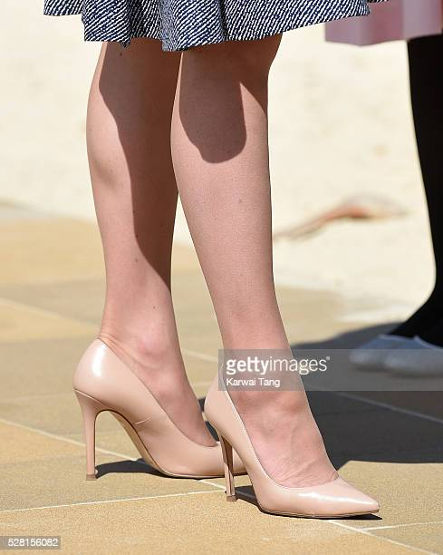 Catherine Duchess of Cambridge shoe detail opens the Magic Garden at Hampton Court Palace on May 4 2016 in London England