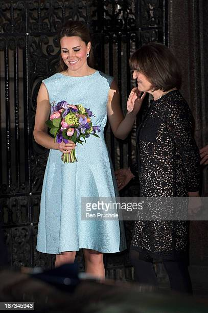 Catherine Duchess of Cambridge sighted departing the National Portrait Gallery on April 24 2013 in London England