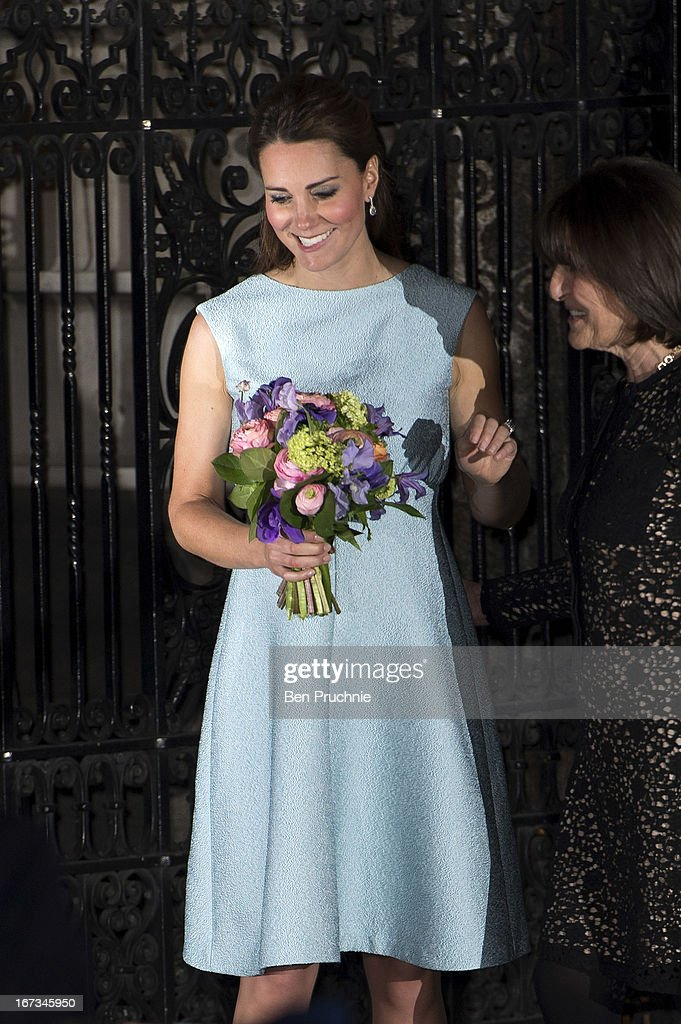 Catherine, Duchess of Cambridge sighted departing the National Portrait Gallery on April 24, 2013 in London, England.