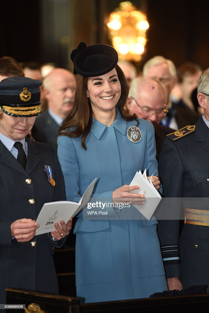 <a gi-track='captionPersonalityLinkClicked' href=/galleries/search?phrase=Catherine+-+Duchess+of+Cambridge&family=editorial&specificpeople=542588 ng-click='$event.stopPropagation()'>Catherine</a>, Duchess of Cambridge sings during the service to mark the 75th Anniversary of the RAF Air Cadets at St Clement Danes Church on February 7, 2016 in London, England.