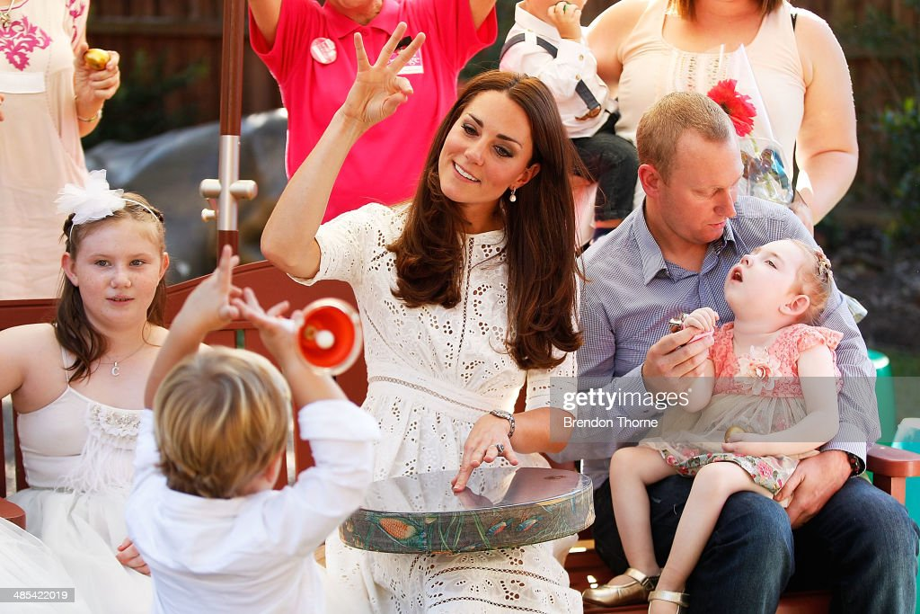 Catherine, Duchess of Cambridge sings with patients of Bear Cottage on April 18, 2014 in Sydney, Australia. The Duke and Duchess of Cambridge are on a three-week tour of Australia and New Zealand, the first official trip overseas with their son, Prince George of Cambridge.