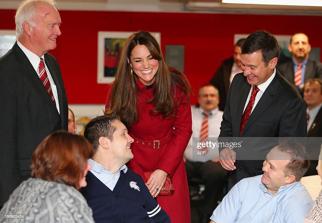Catherine, Duchess of Cambridge smiles ahead of the Autumn International rugby match between Wales and New Zealand at the Millennium Stadium, Cardiff on November 24, 2012 in Cardiff, Wales. AFP PHOTO/POOL/ Michael Steele