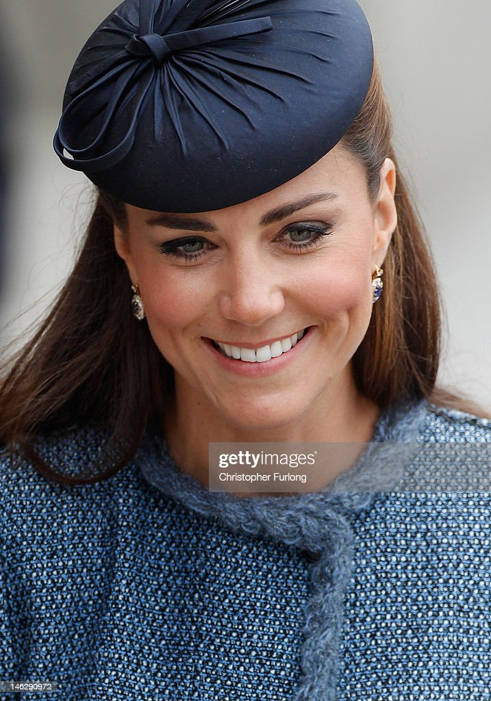 Catherine, Duchess of Cambridge smiles as she greets the crowds outside Nottingham Town Hall during her visit to the East Midlands on June 13, 2012 in Nottingham, England. The Queen was accompanied by Prince William, Duke of Cambridge and Catherine, Duchess of Cambridge, during her official visit to the East Midlands. Prince William will later make his official tribute to the Queen for the Jubilee.