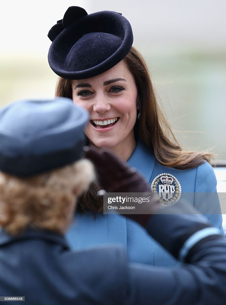 <a gi-track='captionPersonalityLinkClicked' href=/galleries/search?phrase=Catherine+-+Duchess+of+Cambridge&family=editorial&specificpeople=542588 ng-click='$event.stopPropagation()'>Catherine</a>, Duchess of Cambridge smiles as she is saluted by Air Commodore Dawn McCafferty as she arrives for the 75th Anniversary of the RAF Air Cadets at St Clement Danes Church on February 7, 2016 in London, England.