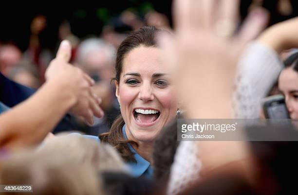 Catherine Duchess of Cambridge smiles as she meets the gathered crowds in Seymour Square during Day 4 of a Royal Tour to New Zealand on April 10 2014...
