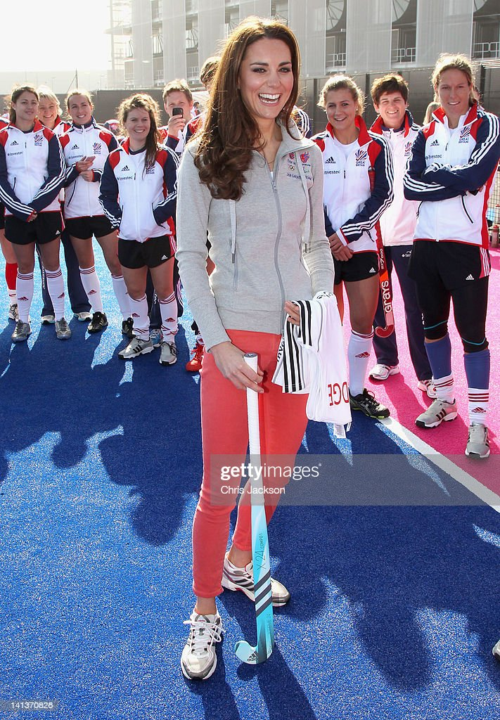 Catherine, Duchess of Cambridge smiles as she meets the GB HockeyTeam at the Riverside Arena in the Olympic Park on March 15, 2012 in London, England. The Duchess of Cambridge viewed the Olympic park as well as meeting members of the men's and women's GB Hockey teams.