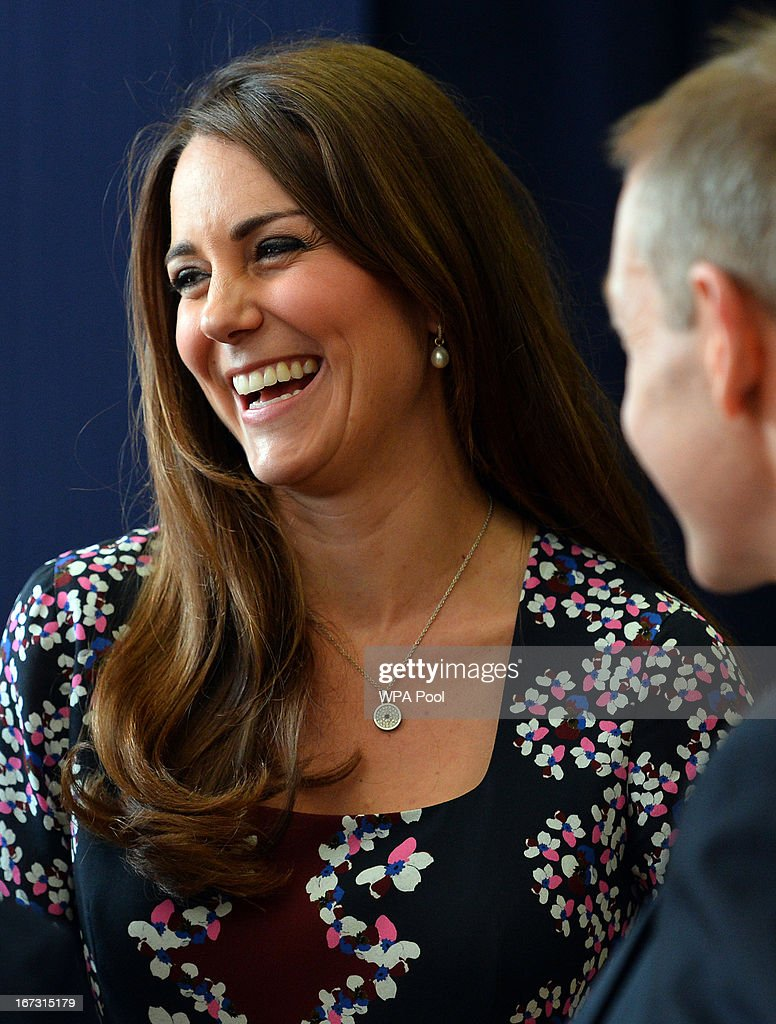 Catherine, Duchess of Cambridge smiles during her visit to The Willows Primary School, Wythenshawe to launch a new school counseling program on April 23, 2013 in Manchester, England. The Duchess of Cambridge met staff and volunteers, teachers and parents at the school as she launched the program which is a partnership between the Royal Foundation, Comic Relief, Place2Be and Action on Addiction.