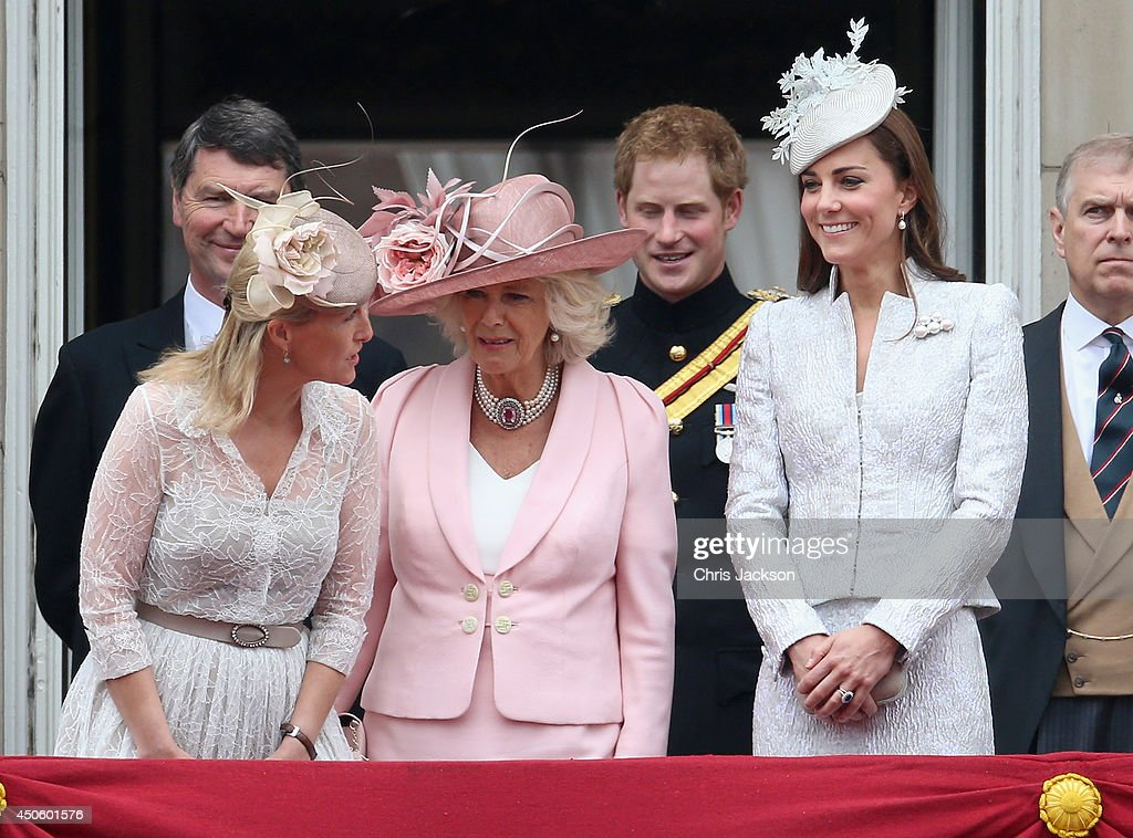 Catherine, Duchess of Cambridge, Sophie, Countess of Wessex and Camilla, Duchess of Cornwall on the balcony during during Trooping the Colour - Queen Elizabeth II's Birthday Parade, at The Royal Horseguards on June 14, 2014 in London, England.