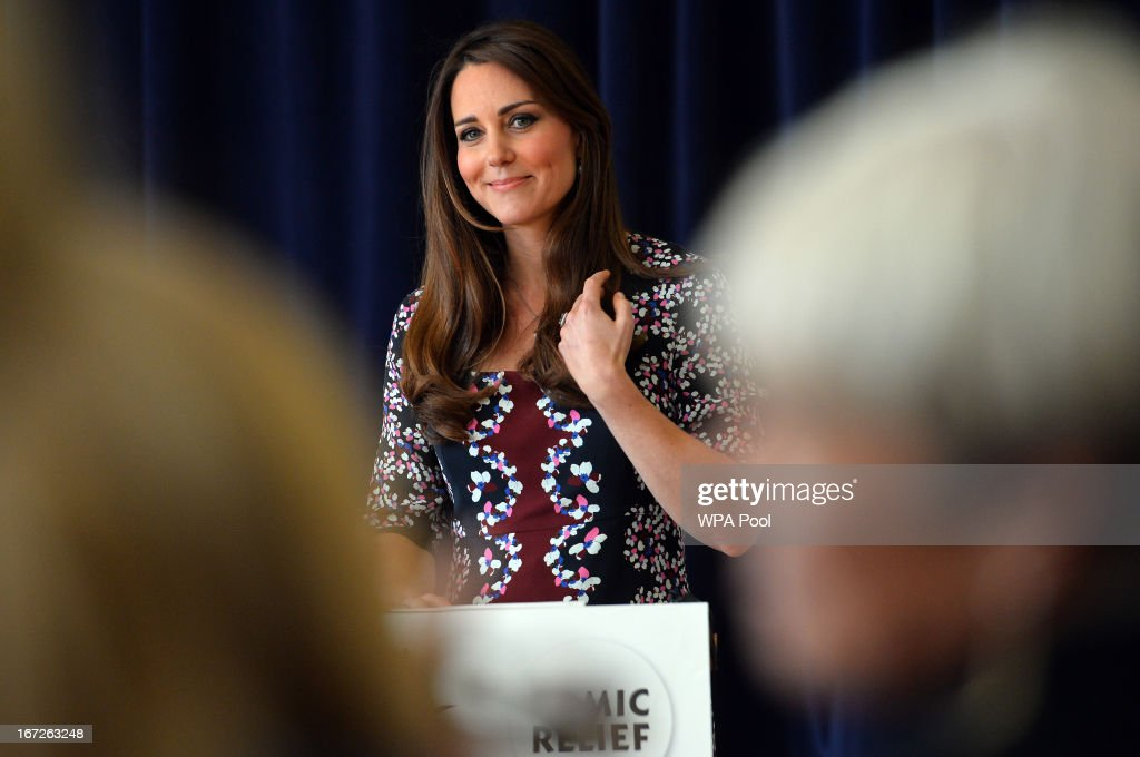 Catherine, Duchess of Cambridge speaks during her visit to The Willows Primary School, Wythenshawe to launch a new school counseling program on April 23, 2013 in Manchester, England. The Duchess of Cambridge met staff and volunteers, teachers and parents at the school as she launched the program which is a partnership between the Royal Foundation, Comic Relief, Place2Be and Action on Addiction.