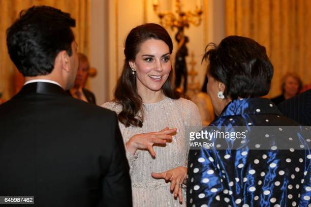 Catherine Duchess of Cambridge speaks to Baroness Scotland at a reception this evening to mark the launch of the UKIndia Year of Culture 2017 on...