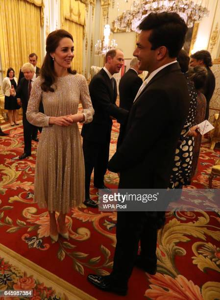 Catherine Duchess of Cambridge speaks to chef Vikas Khanna who is one of the presenters of MasterChef India at a reception this evening to mark the...